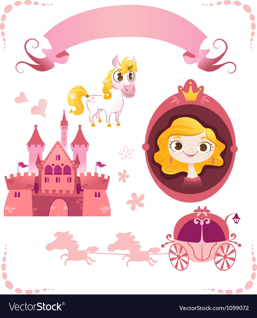 Set of pink princess tale