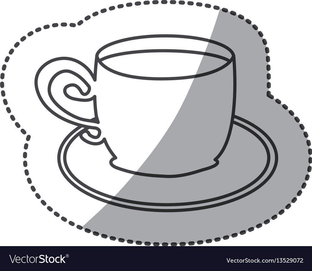 Silhouette cup with plate icon
