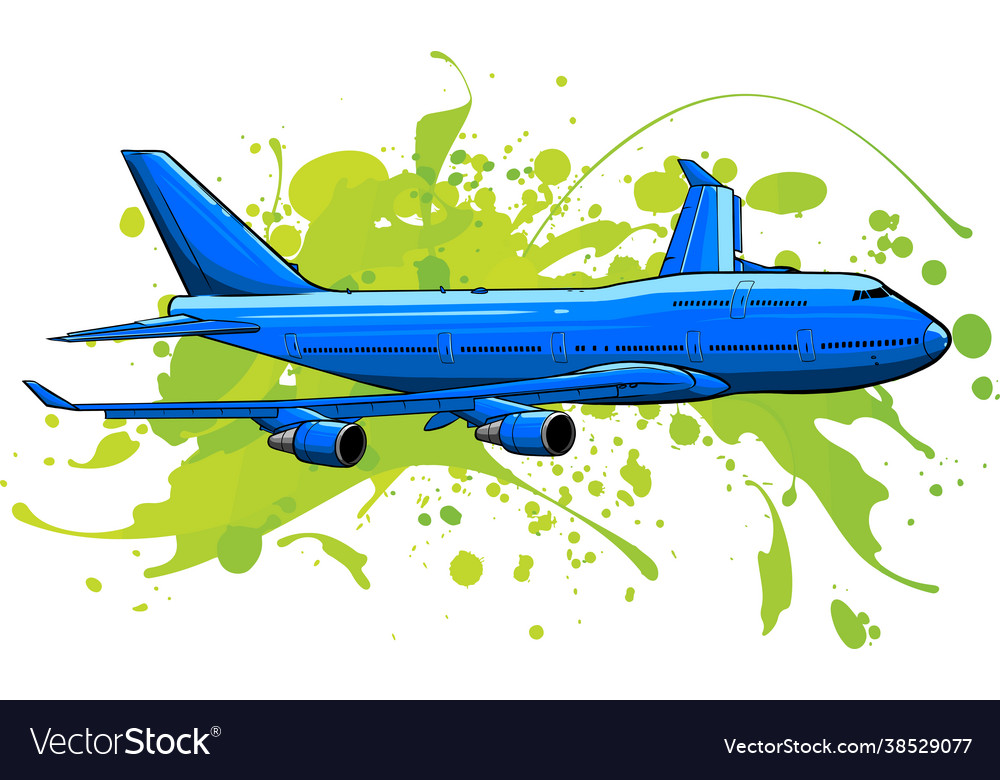 Art colored airplane flying