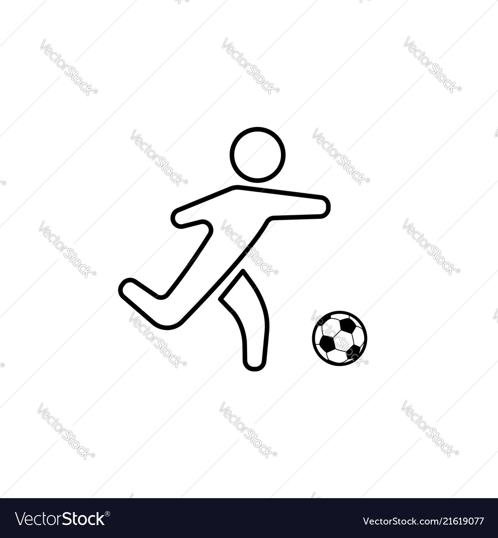 Football soccer player silhouette with ball