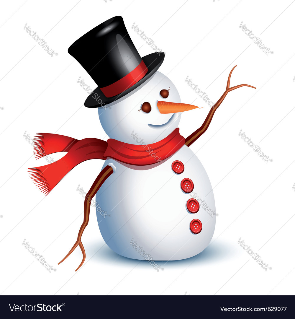 happy snowman royalty free vector image vectorstock rh vectorstock com snowman vector black and white snowman vector png