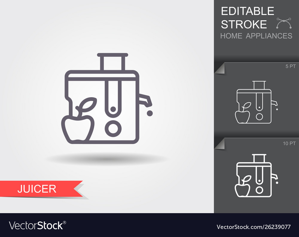 Juicer line icon with editable stroke with shadow