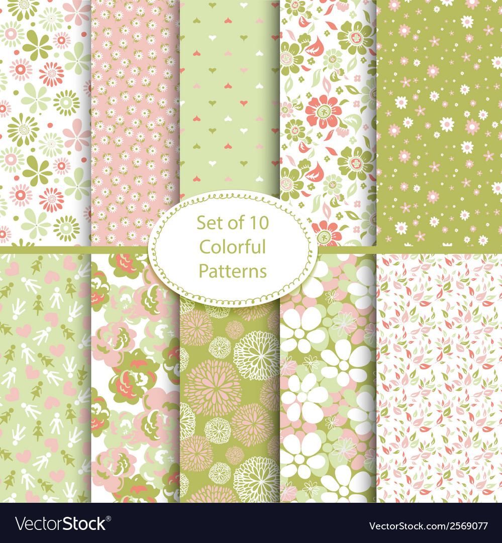 Set 10 seamless floral and hearts background