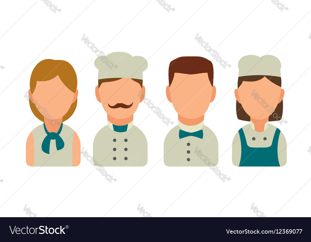 Set icon character cook Waiter chef waitress