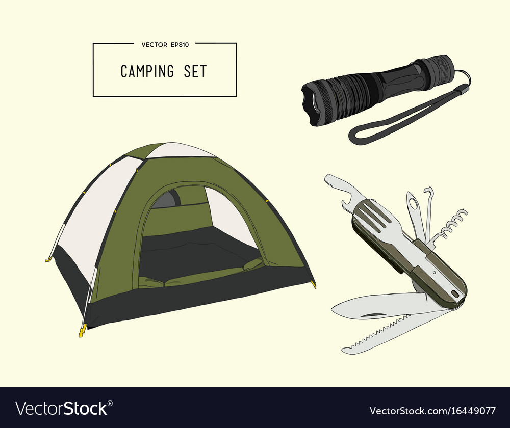 Set of hand drawn camping equipment drawing