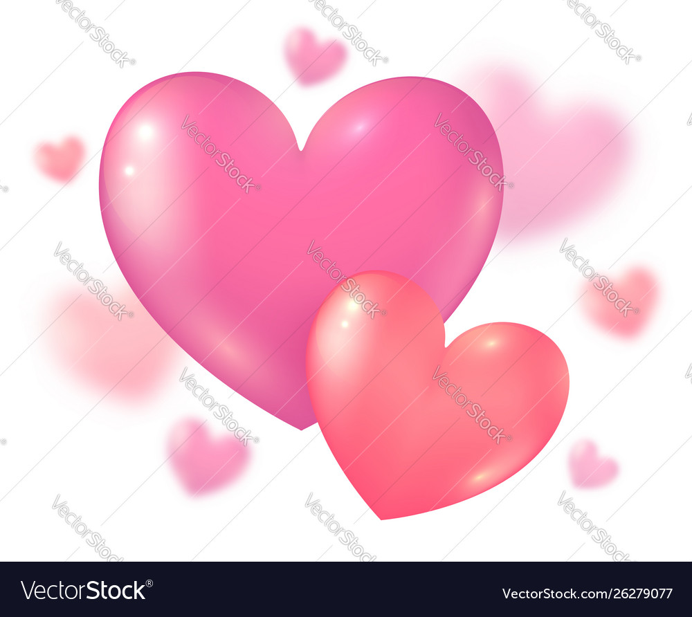 Valentines day pink couple hearts on blurred