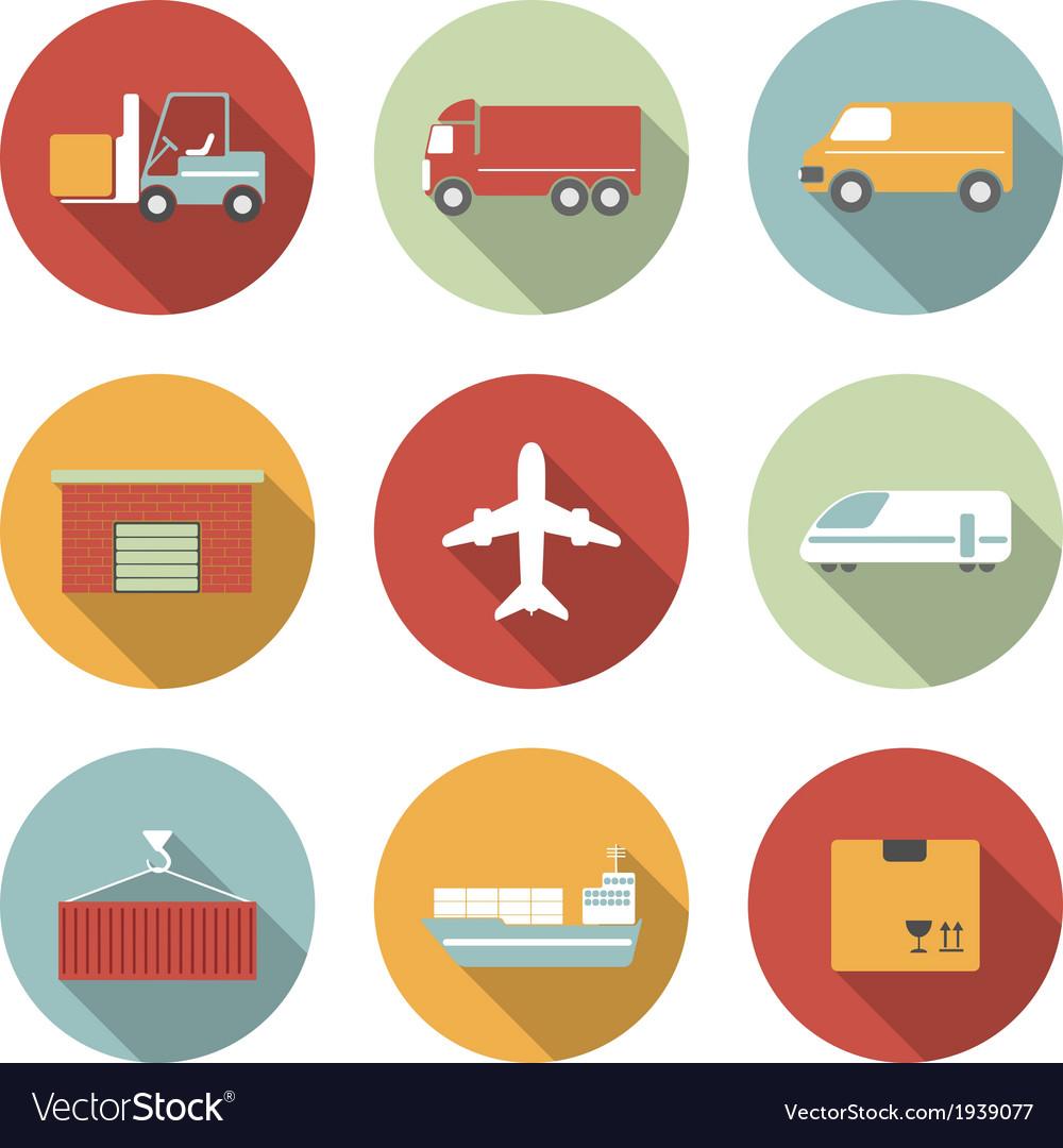 Vehicle transport and logistics flat icons