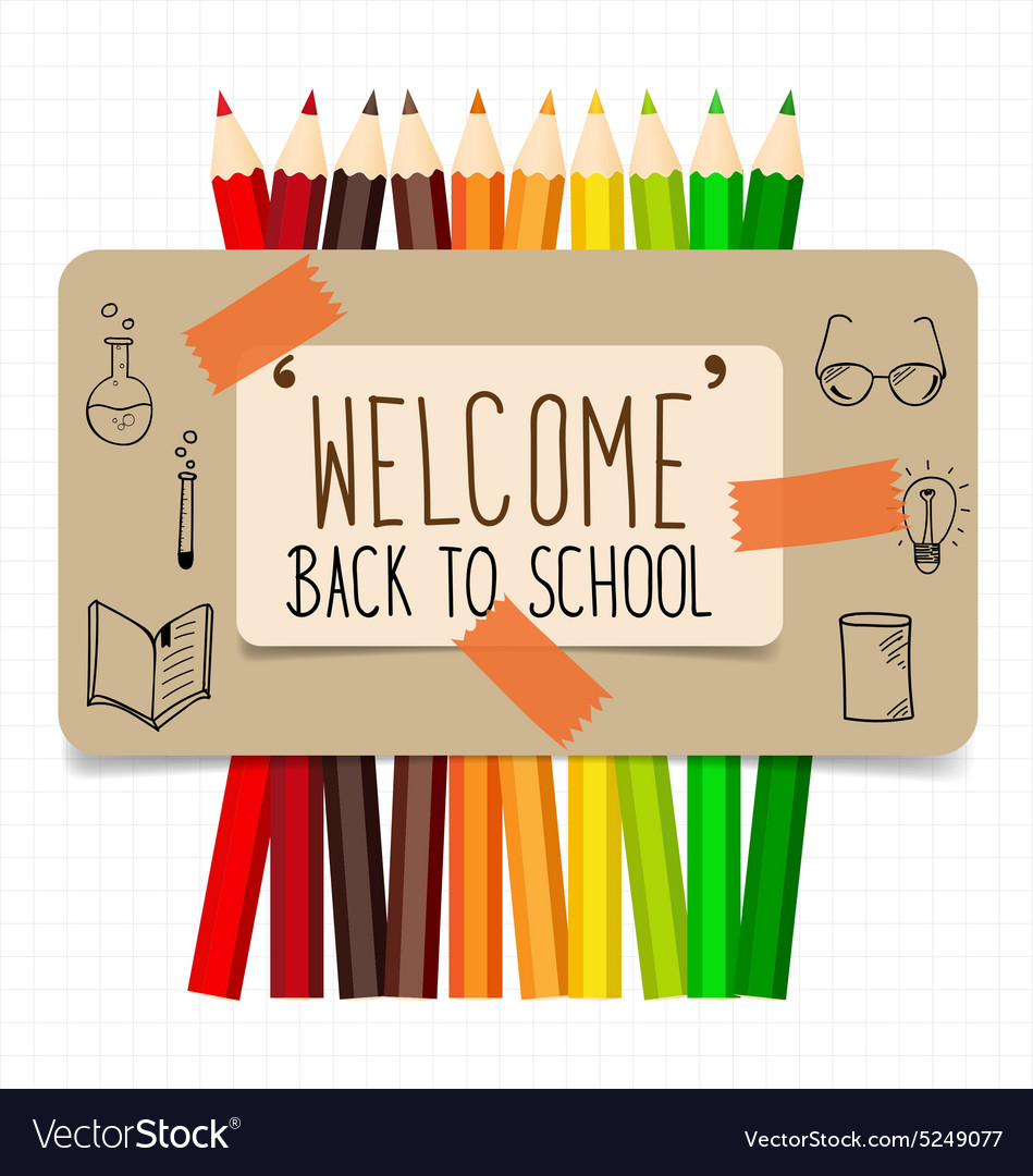 welcome back school banner pencil letters paper trail