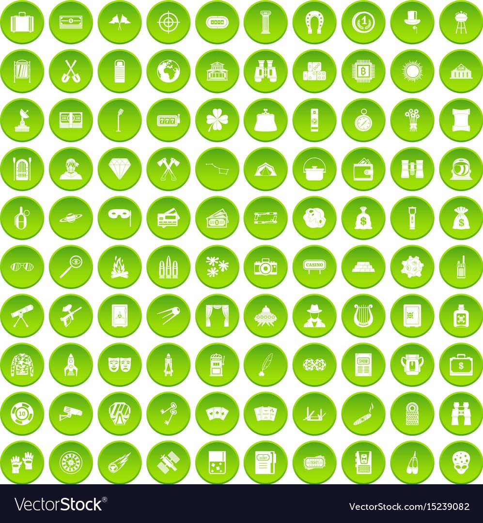 100 adult games icons set green circle vector image