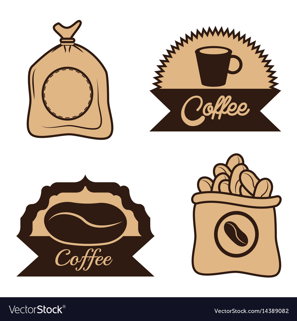 Coffee label sac beans cup desgin