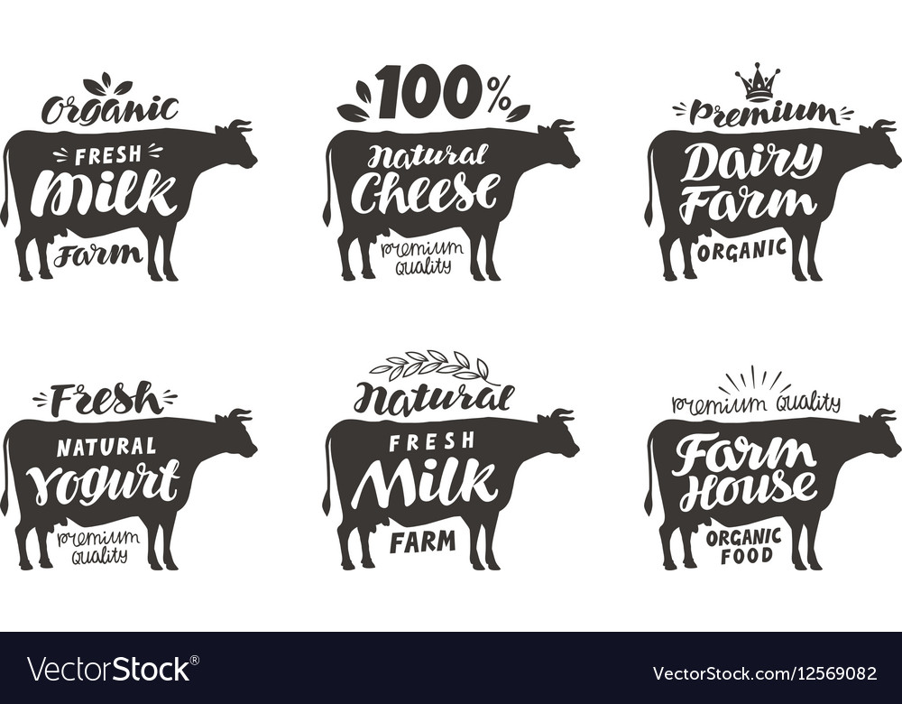 Cow set food labels badges and icons vector image