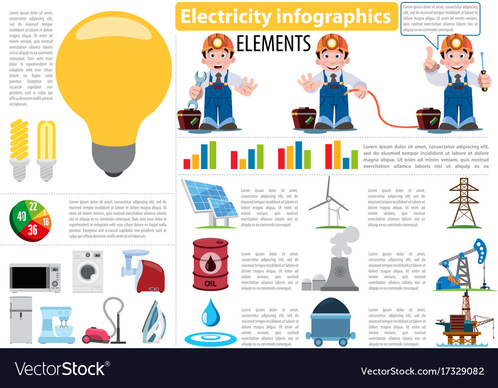 Electricity infographics elements electricity
