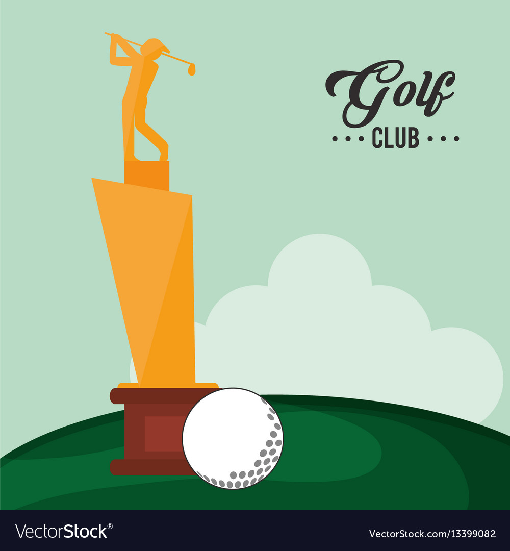 Golf club trophy and ball