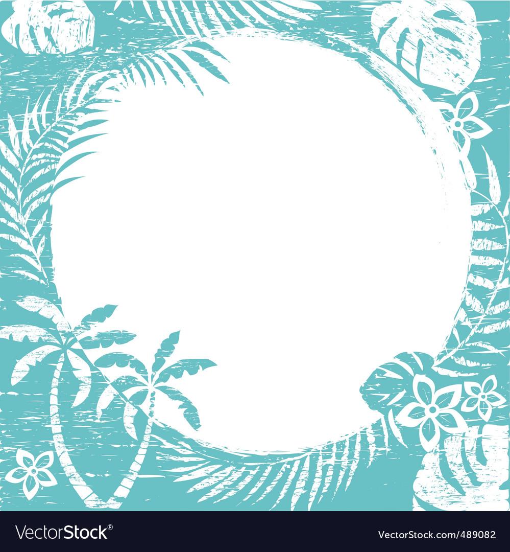 Grunge tropical border vector image