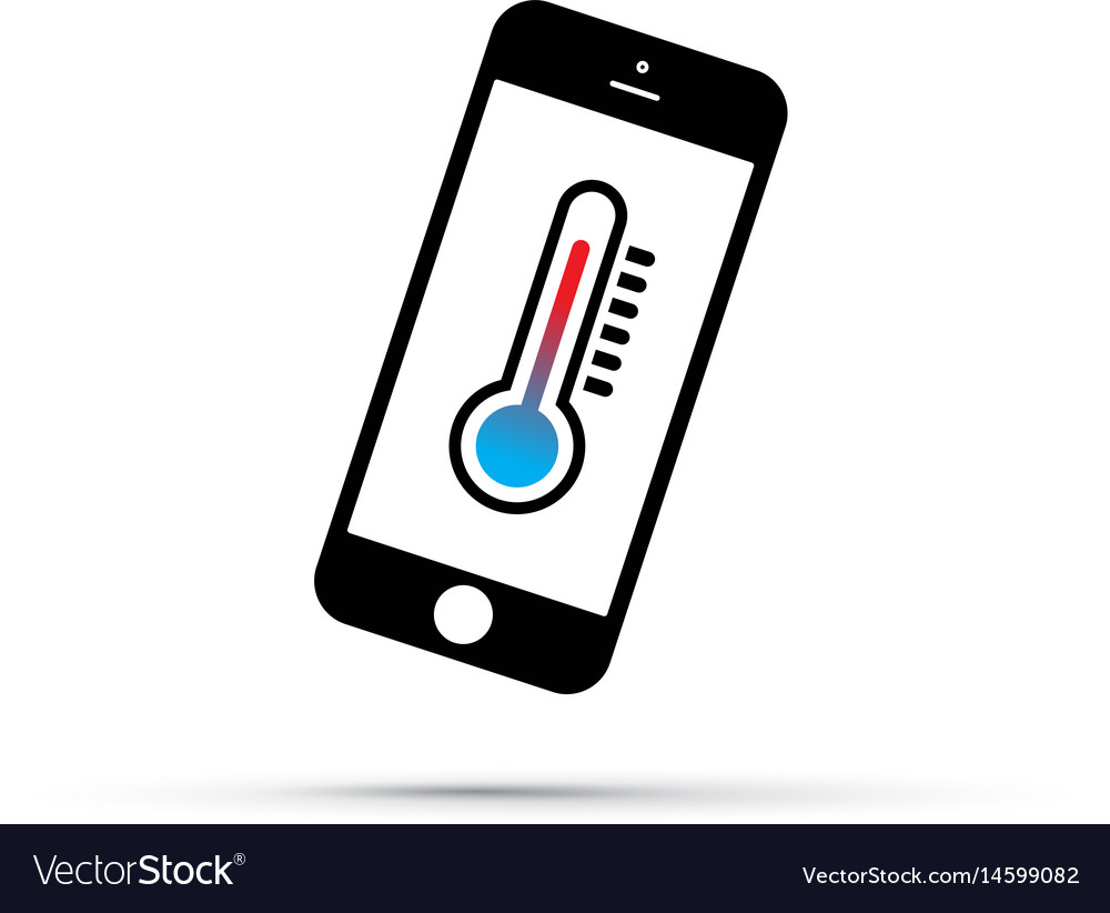 Mobile phone thermometer icon