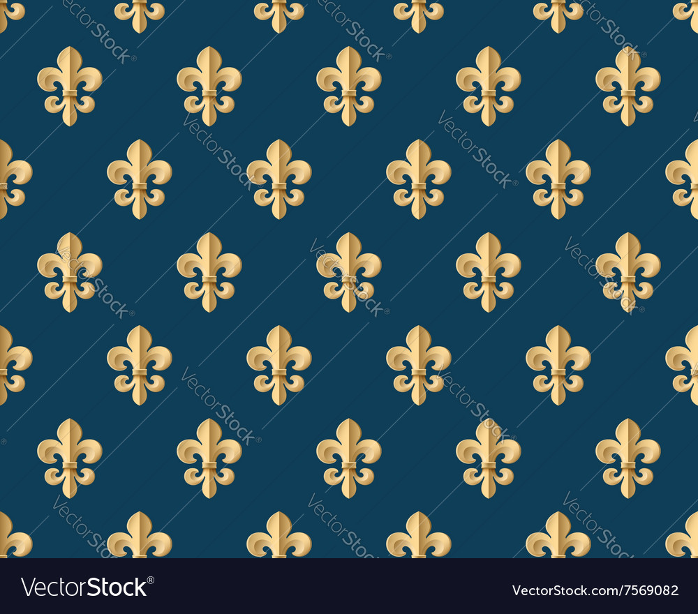 seamless gold pattern with fleur de lys on a dark vector image