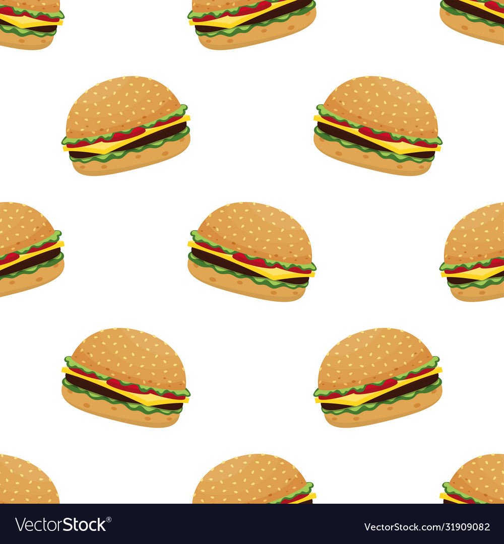 Seamless pattern with burger on white