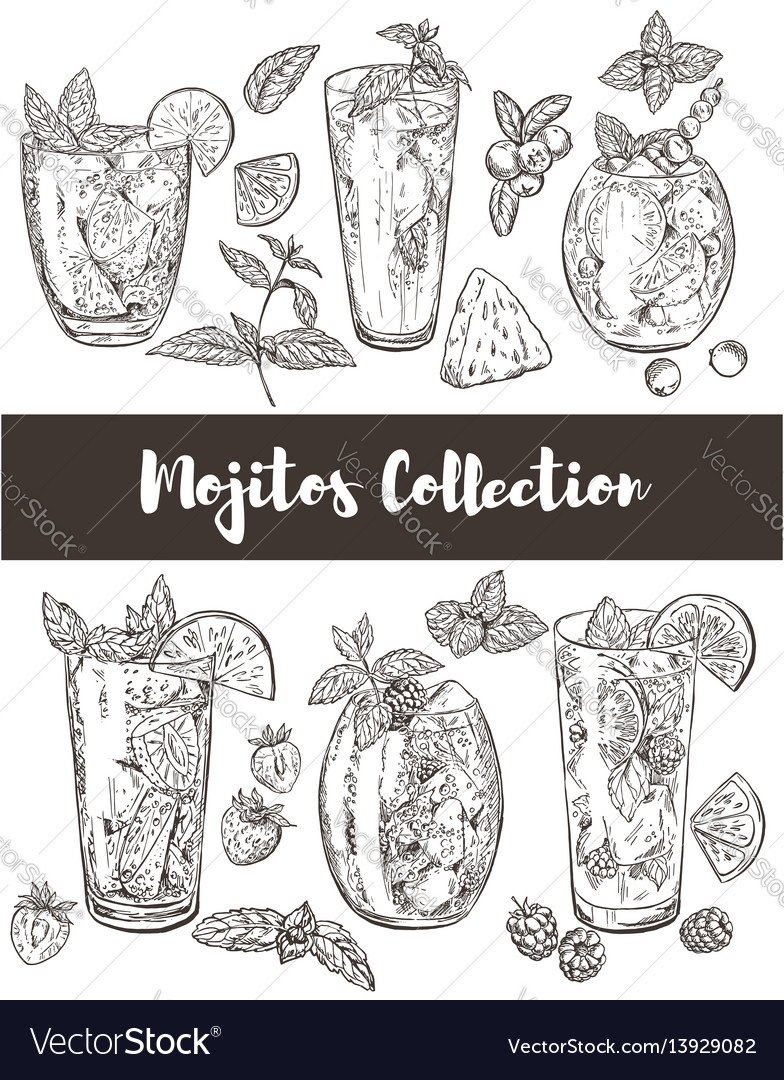 Set of six types of mojito vector image