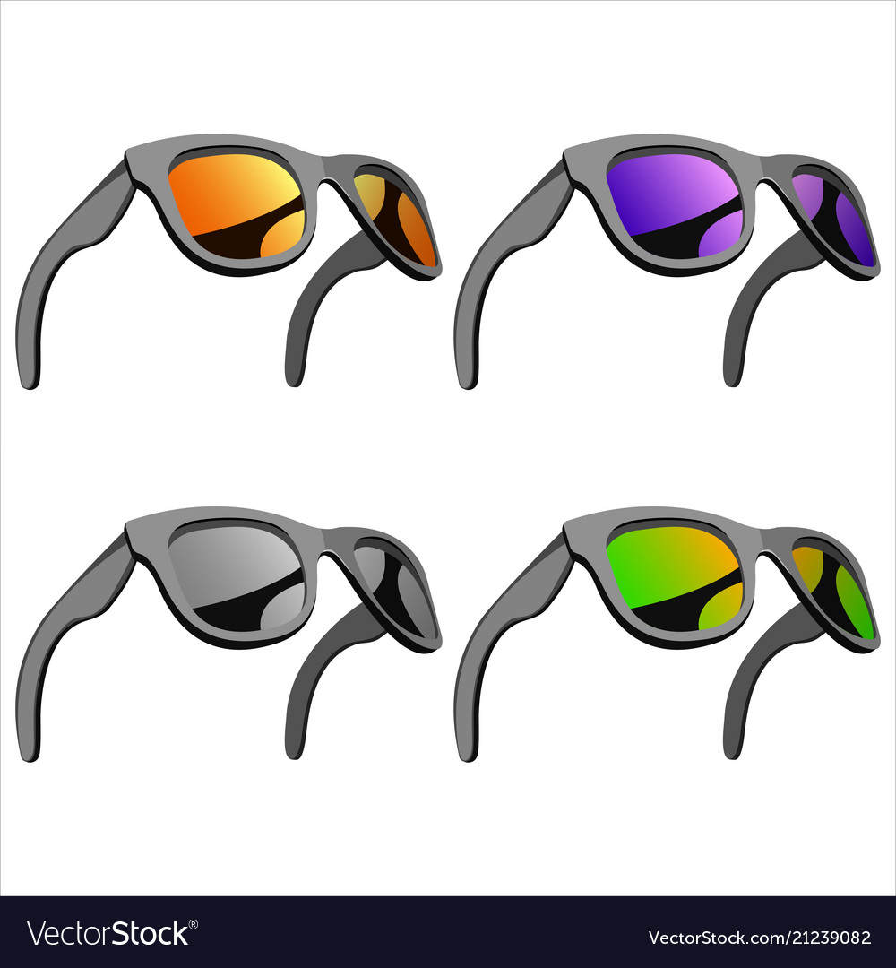Set of sunglasses with mirror lenses