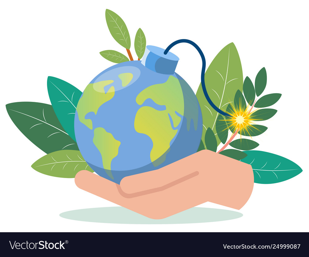 A hand is holding a planet earth imitation bomb
