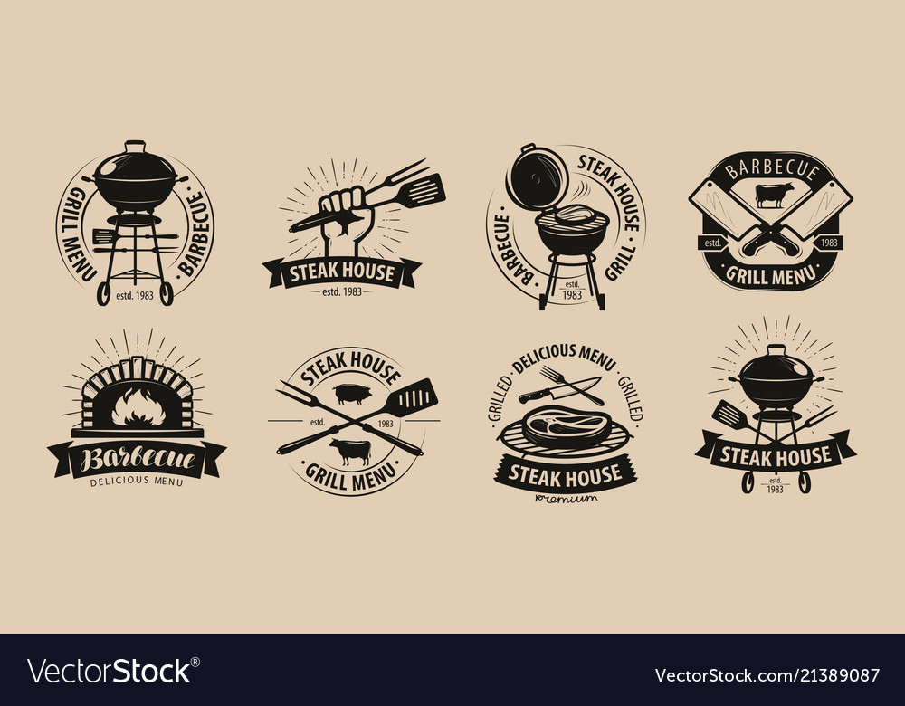 Bbq barbecue grill logo or icons labels for the