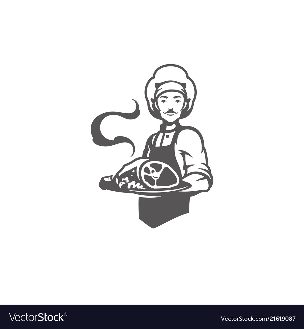 Chef man holding meat dish silhouette