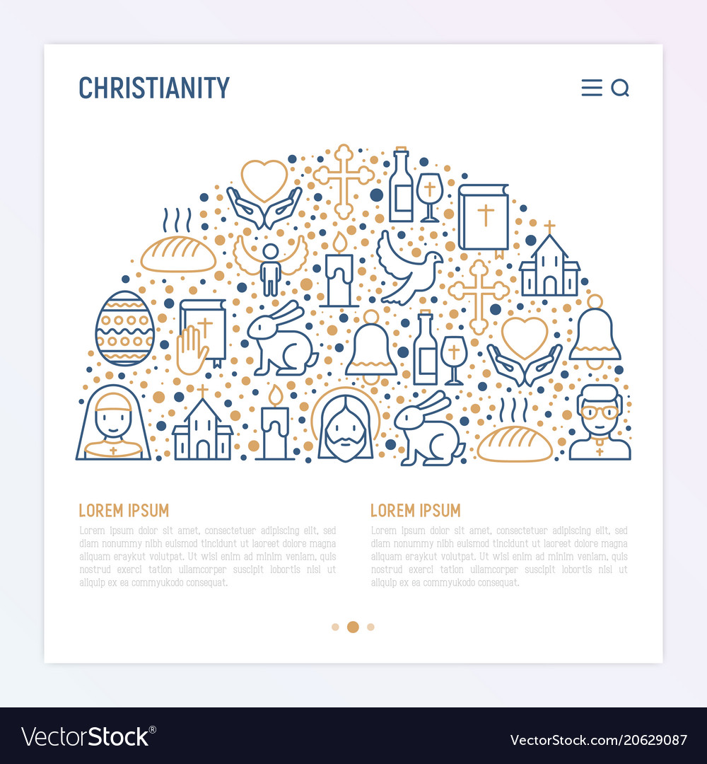 Christianity concept in half circle