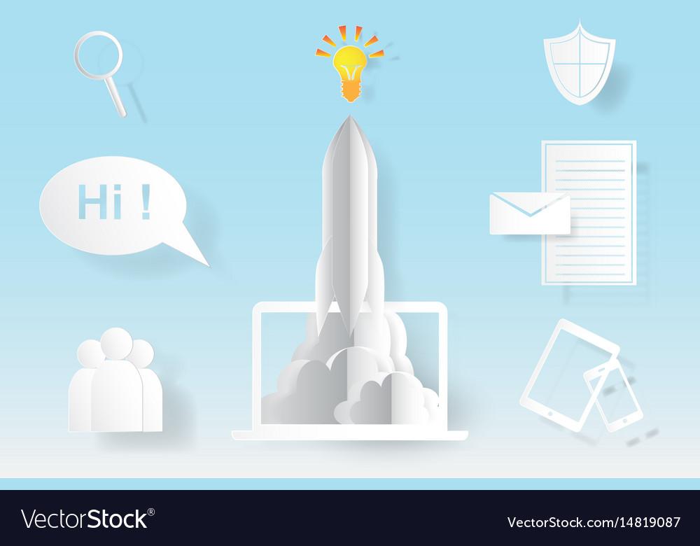 Computer startup rocket idea concept