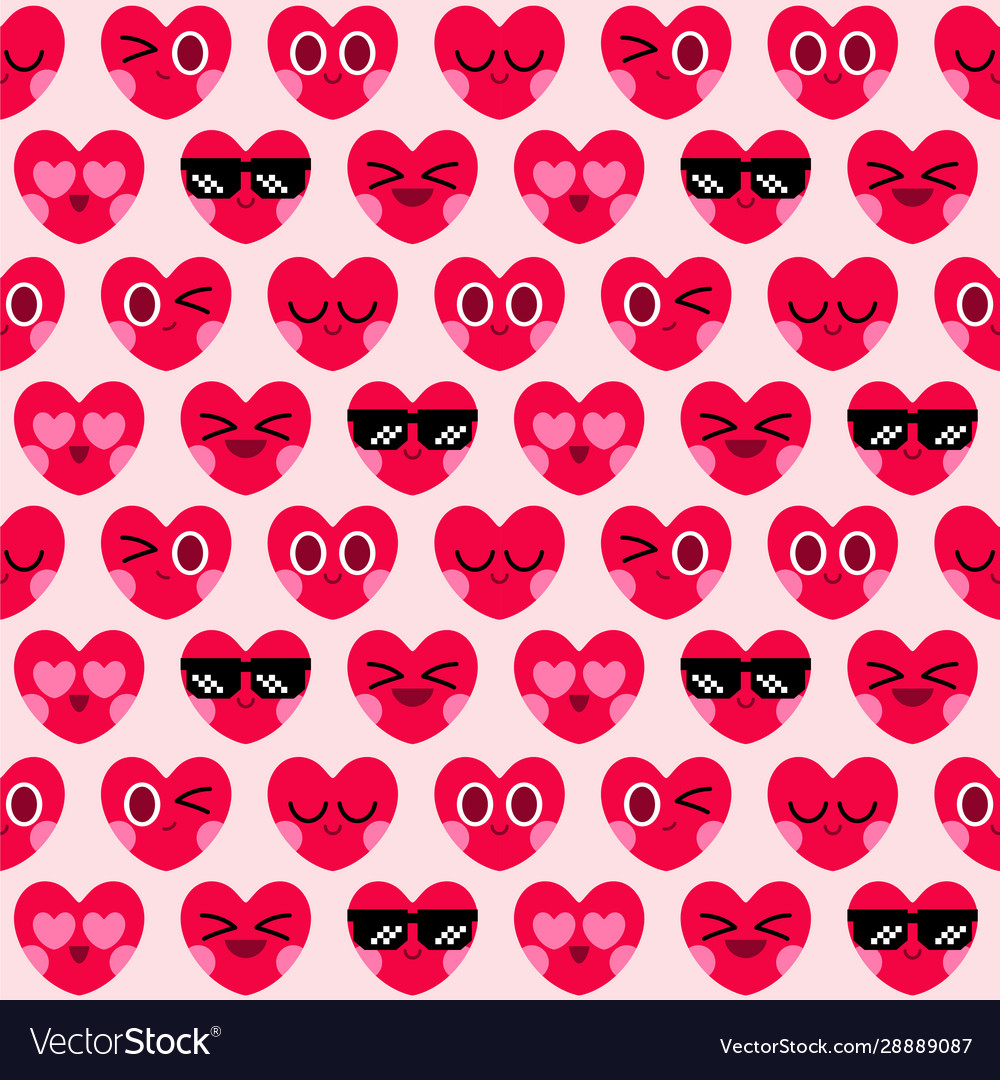 Cute heart character seamless pattern background