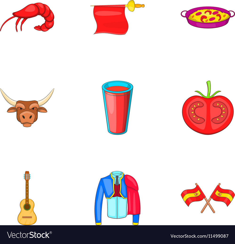 European Spain icons set cartoon style