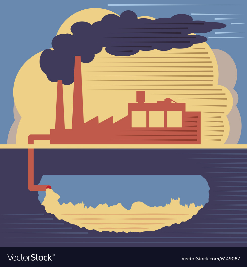 Factory building - air and soil pollution vector image