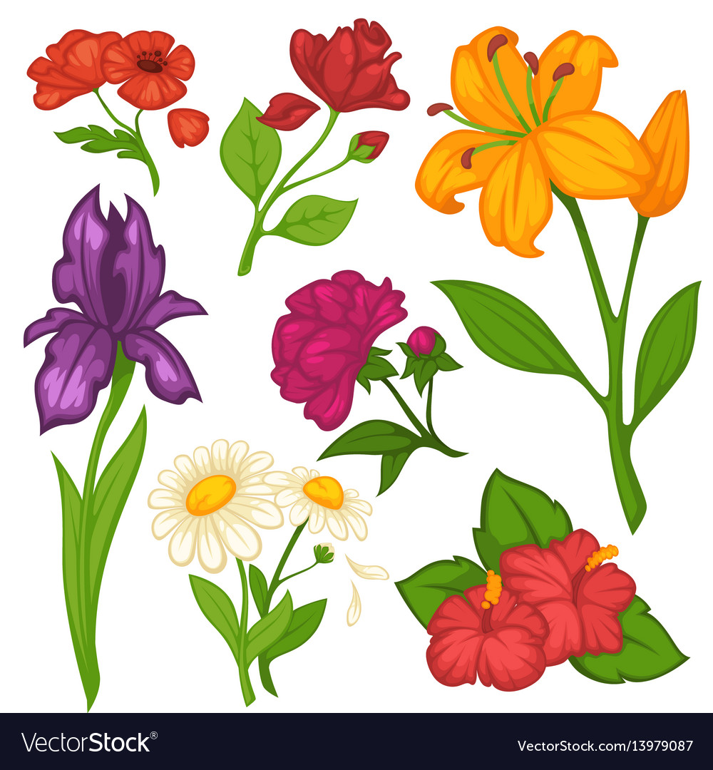 Flowers blooms flat isolated icons set