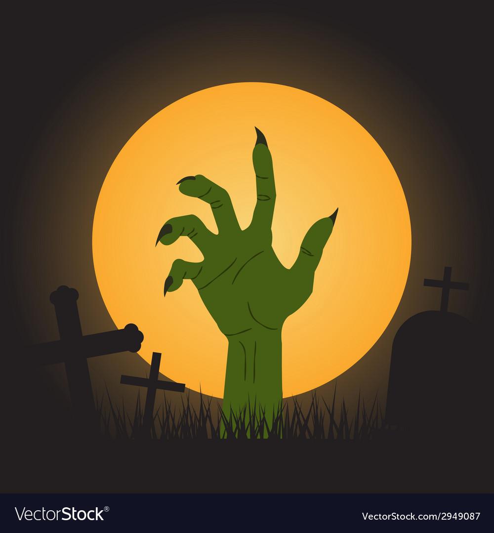 Halloween background zombie hand vector image