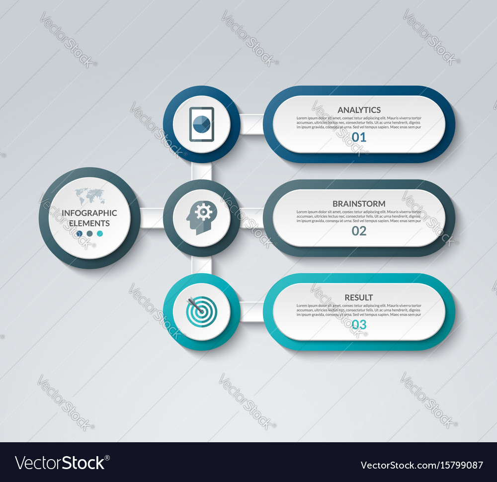 Infographic template with 3 options vector image