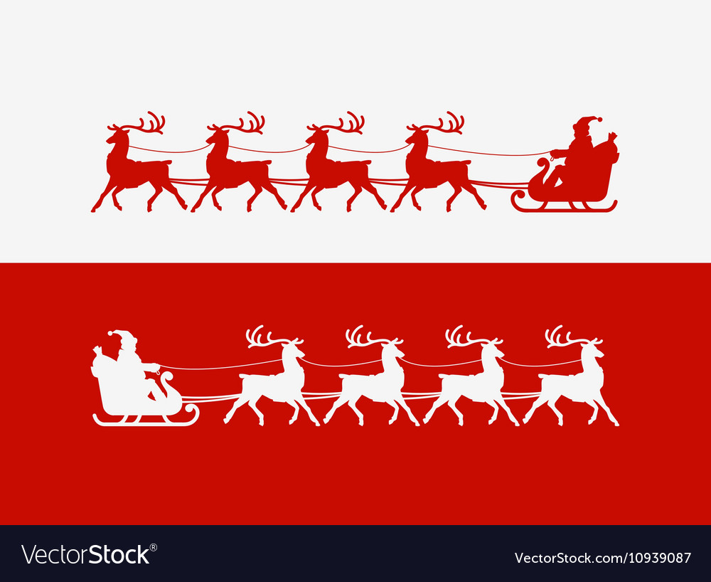 Merry Christmas greeting card Santa Claus rides