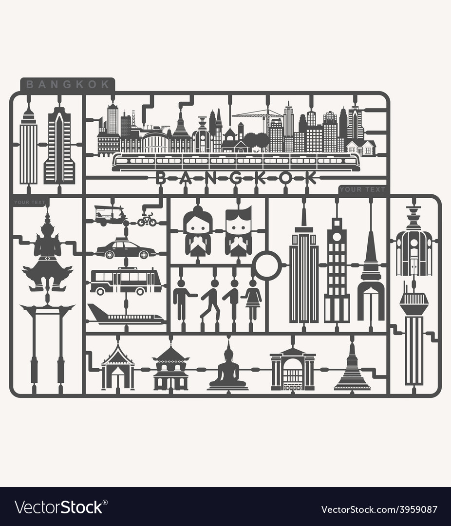 Plastic model kits required set of Bangkok city