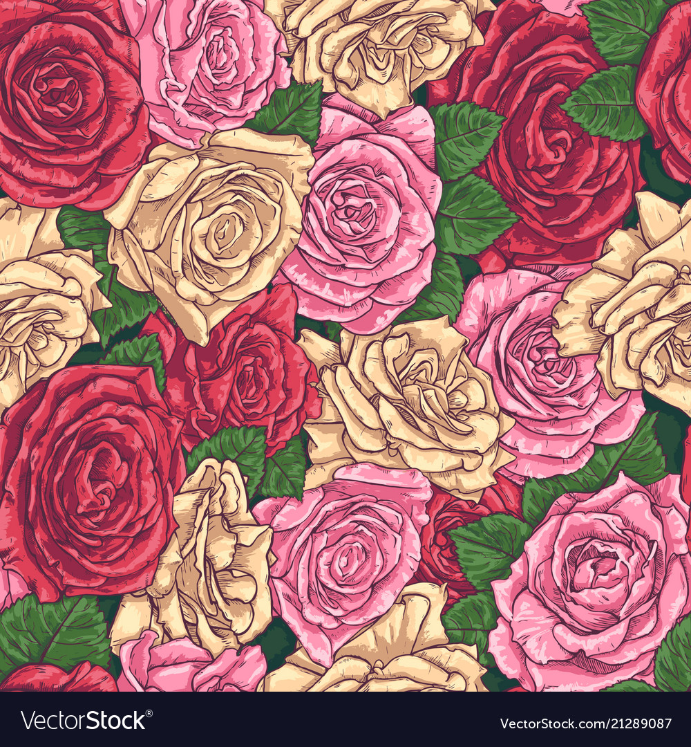 Seamless hand drawn pattern with roses