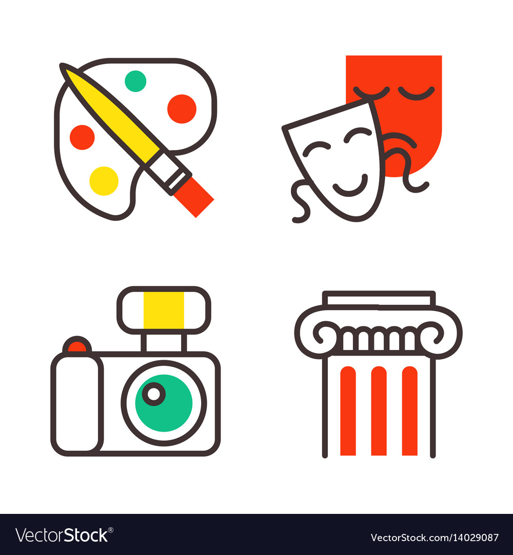 Set of art icons in flat design camera picture vector image