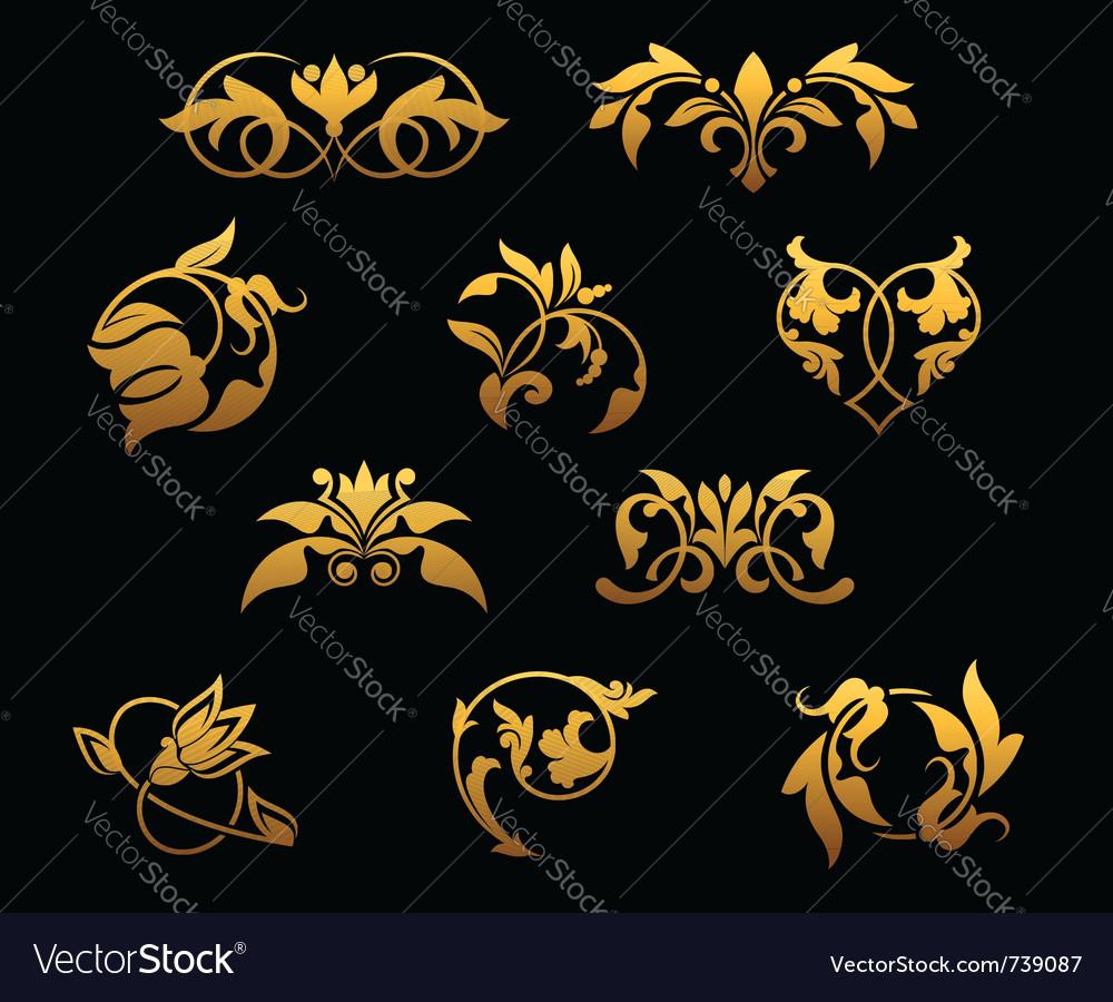 Vintage golden florals set