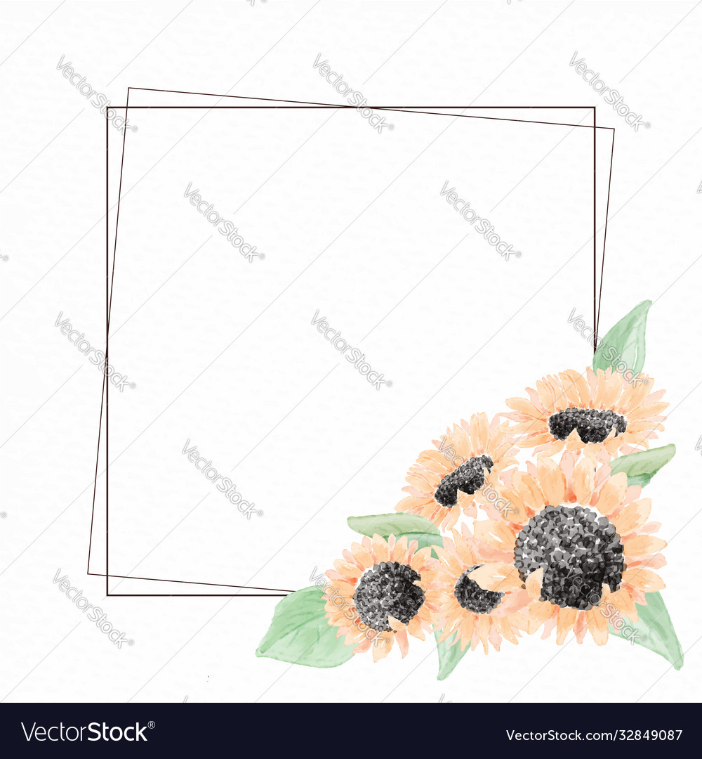 Watercolor yellow sunflower bouquet wreath frame