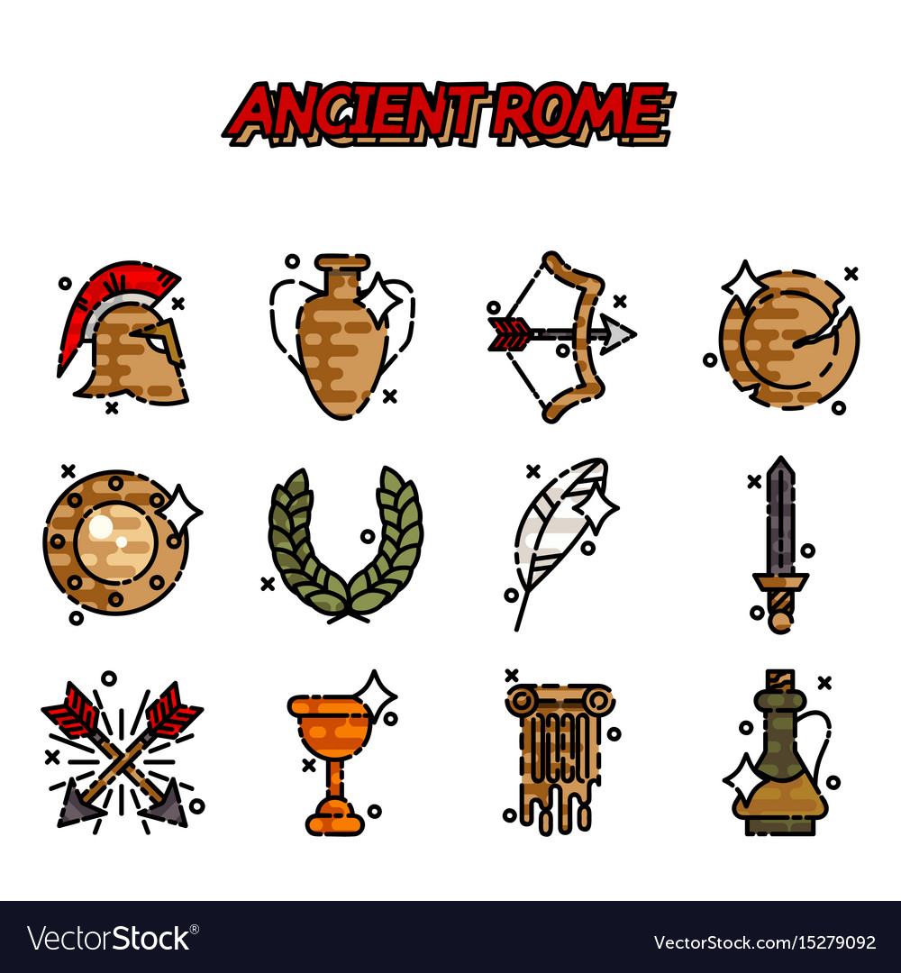 Ancient rome cartoon icons set vector image