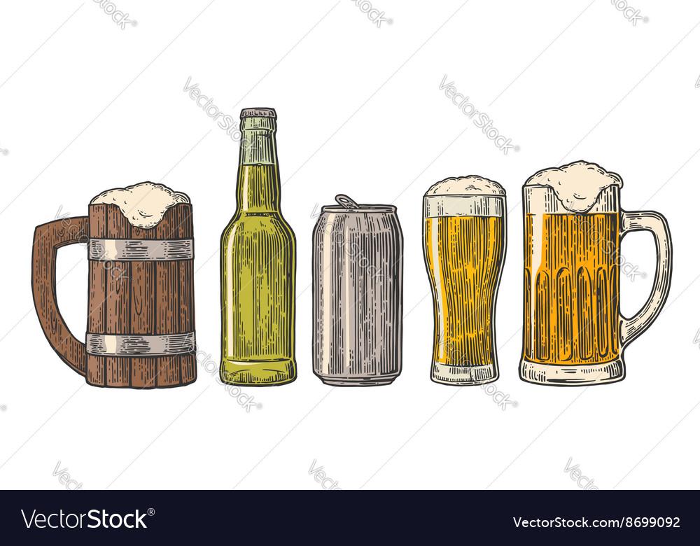 Beer glass mug can bottle hop vintage
