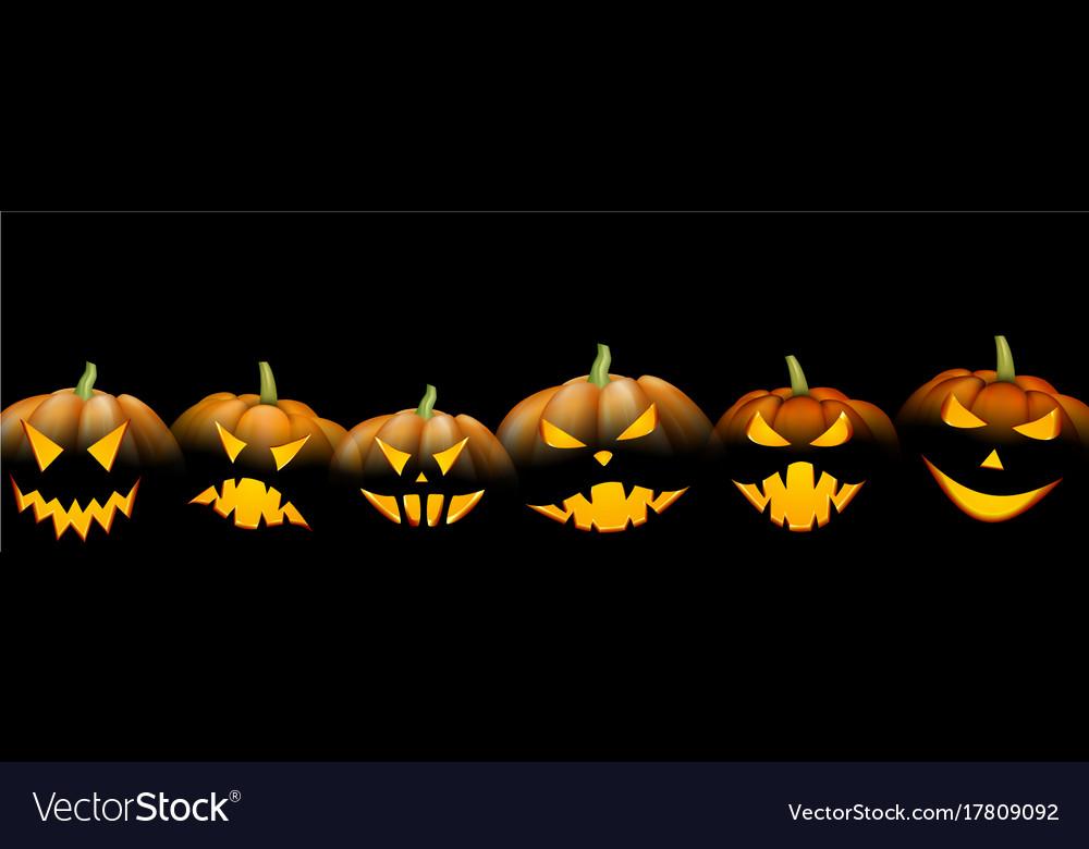 Black Banner With Orange Halloween Pumpkins Vector Image