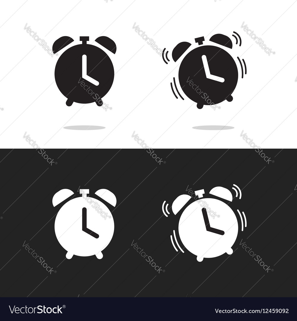 Clock alarm icon isolated on white and vector image