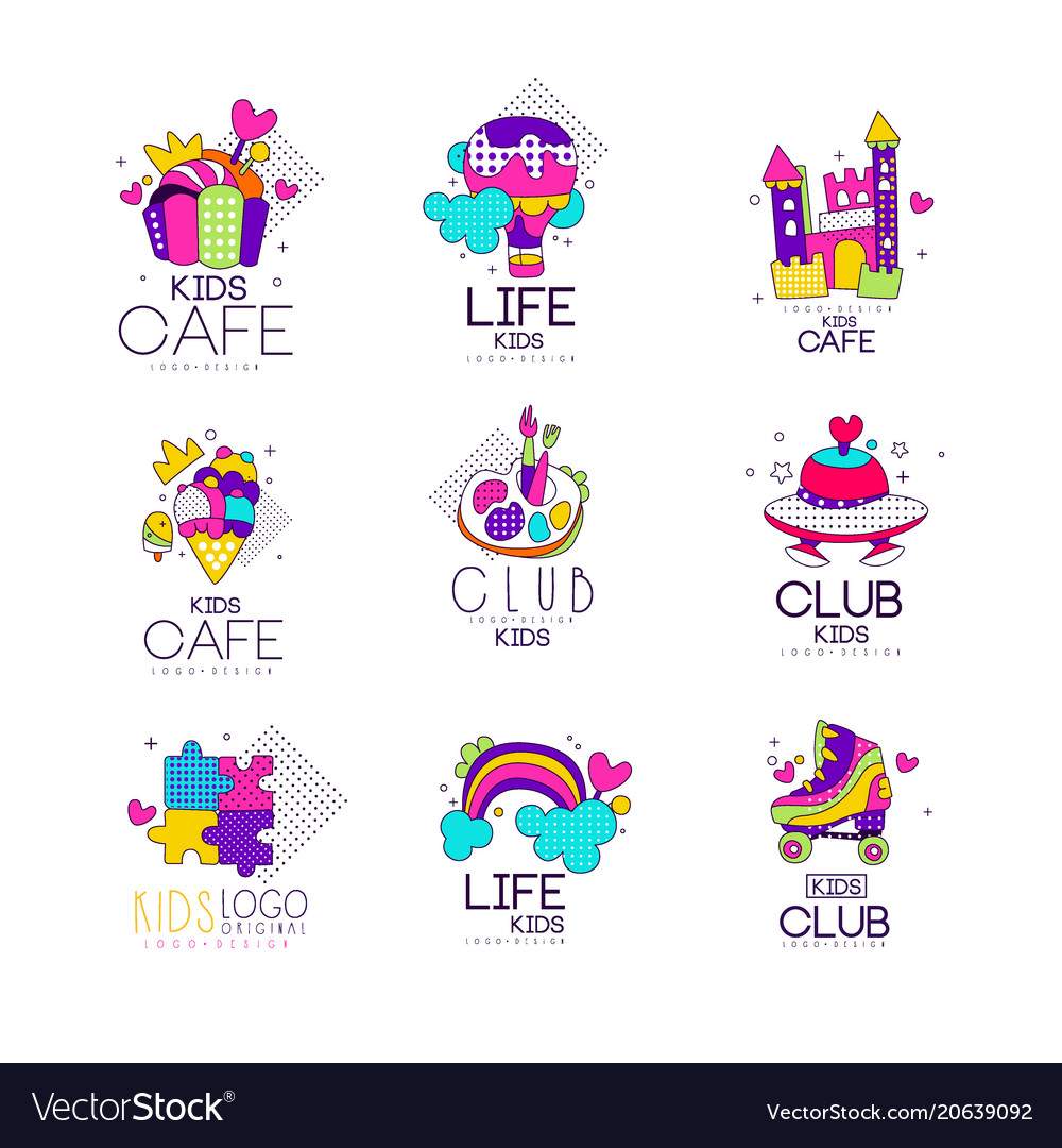 Collection of kids logo templates set kids cafe