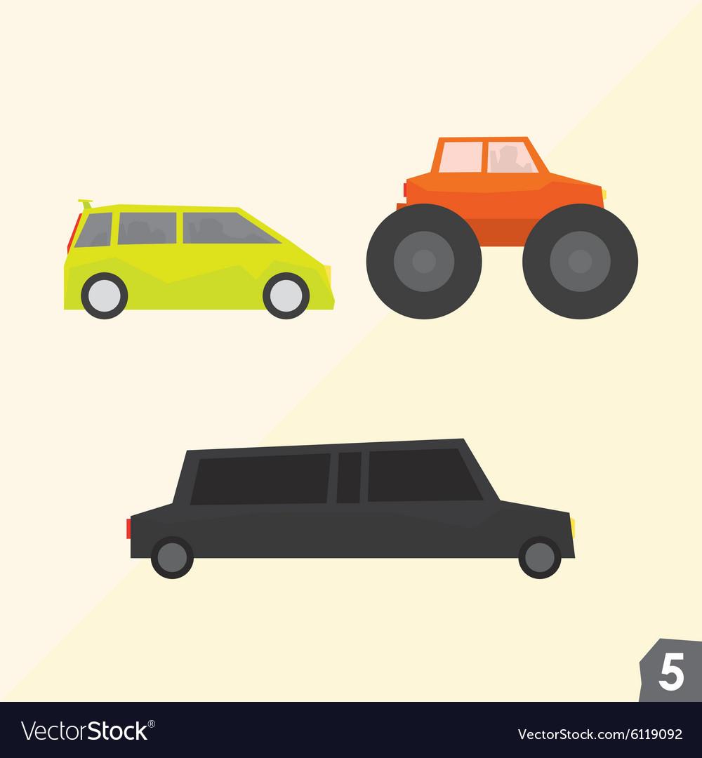 Family van monster truck and limousine