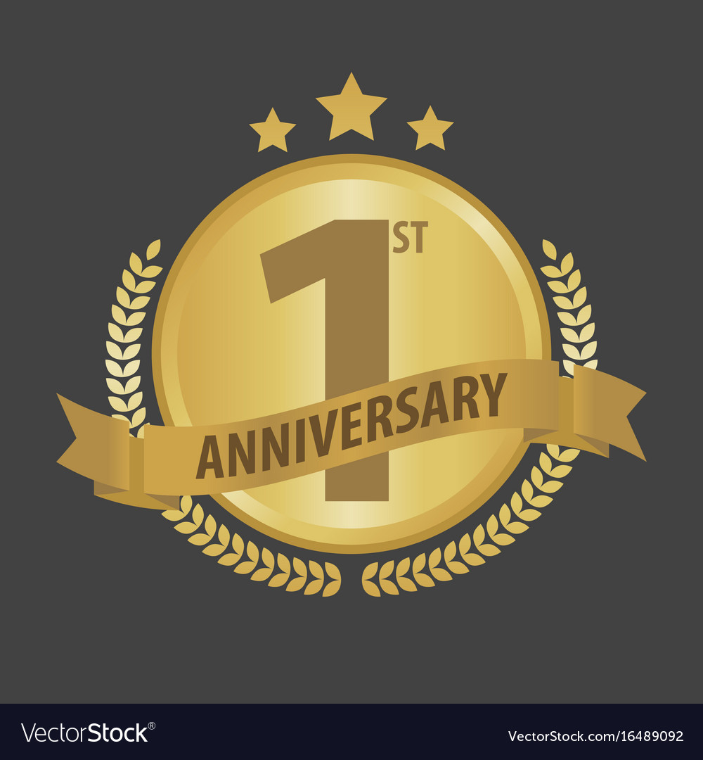 First 1 year anniversary golden badge and ribbon vector image