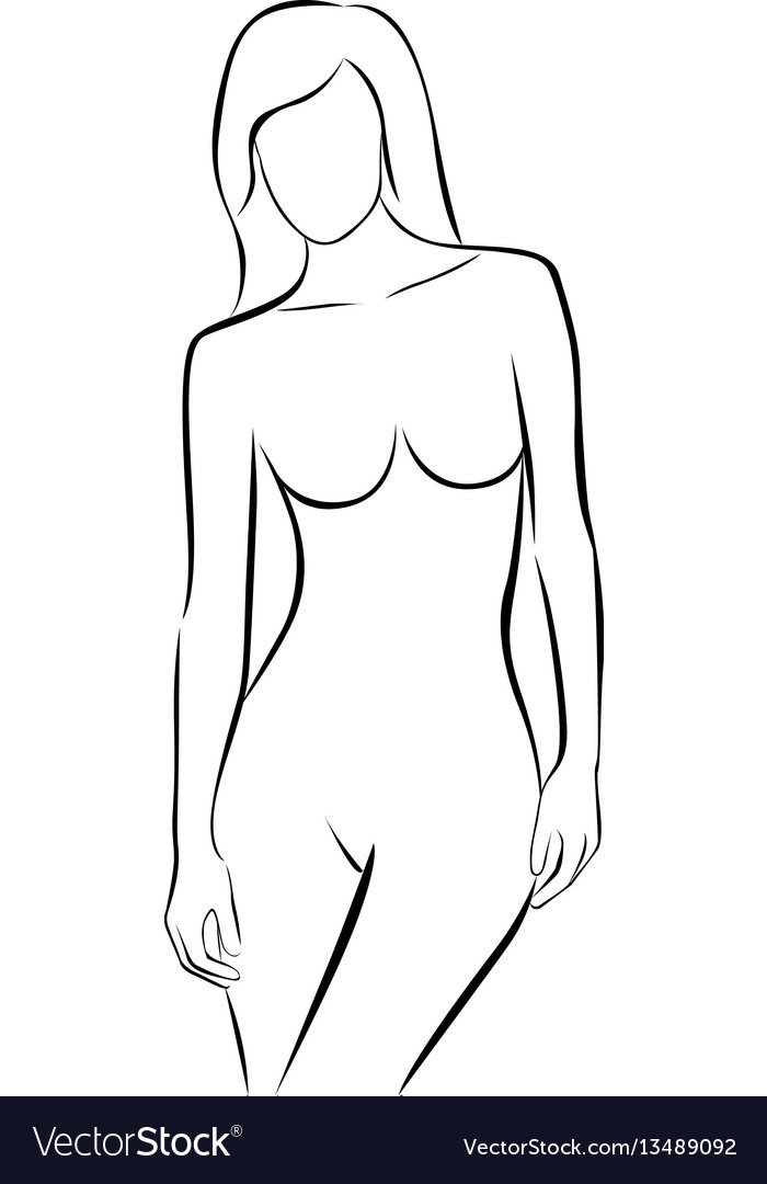 Front view female stylized body contour