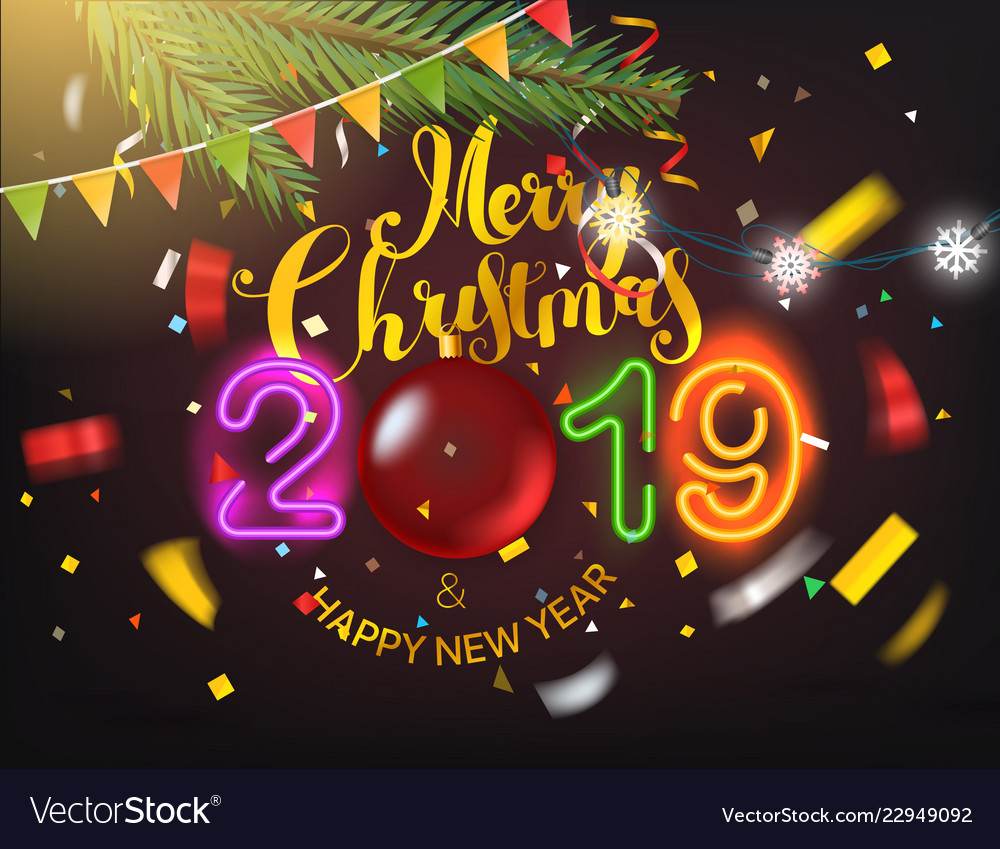 Christmas Graphics 2019.Happy New 2019 Year And Merry Christmas Greeting