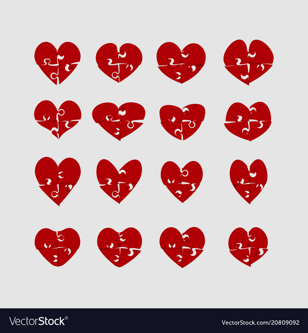 Hearts puzzle love jigsaw love logotype puzzle